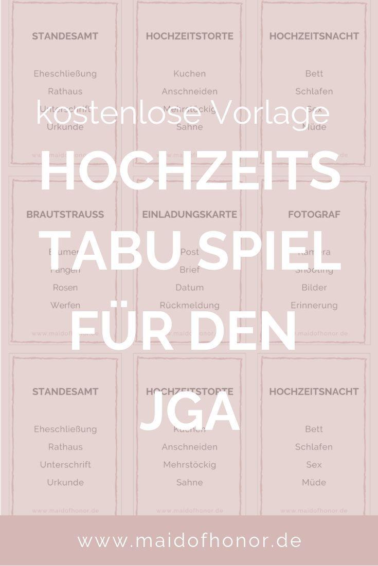 JGA IDEEN: Tabu-Spiel für den JGA oder die Brautparty zum Ausdrucken #zuhausediy