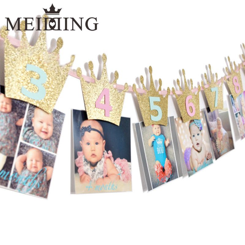 Meidding 1set Newborn 1 12 Month Baby Photo Banner With Clip Baby Shower First Birthday Kids R Gold Birthday Banner Happy Birthday Parties Welcome To The Party