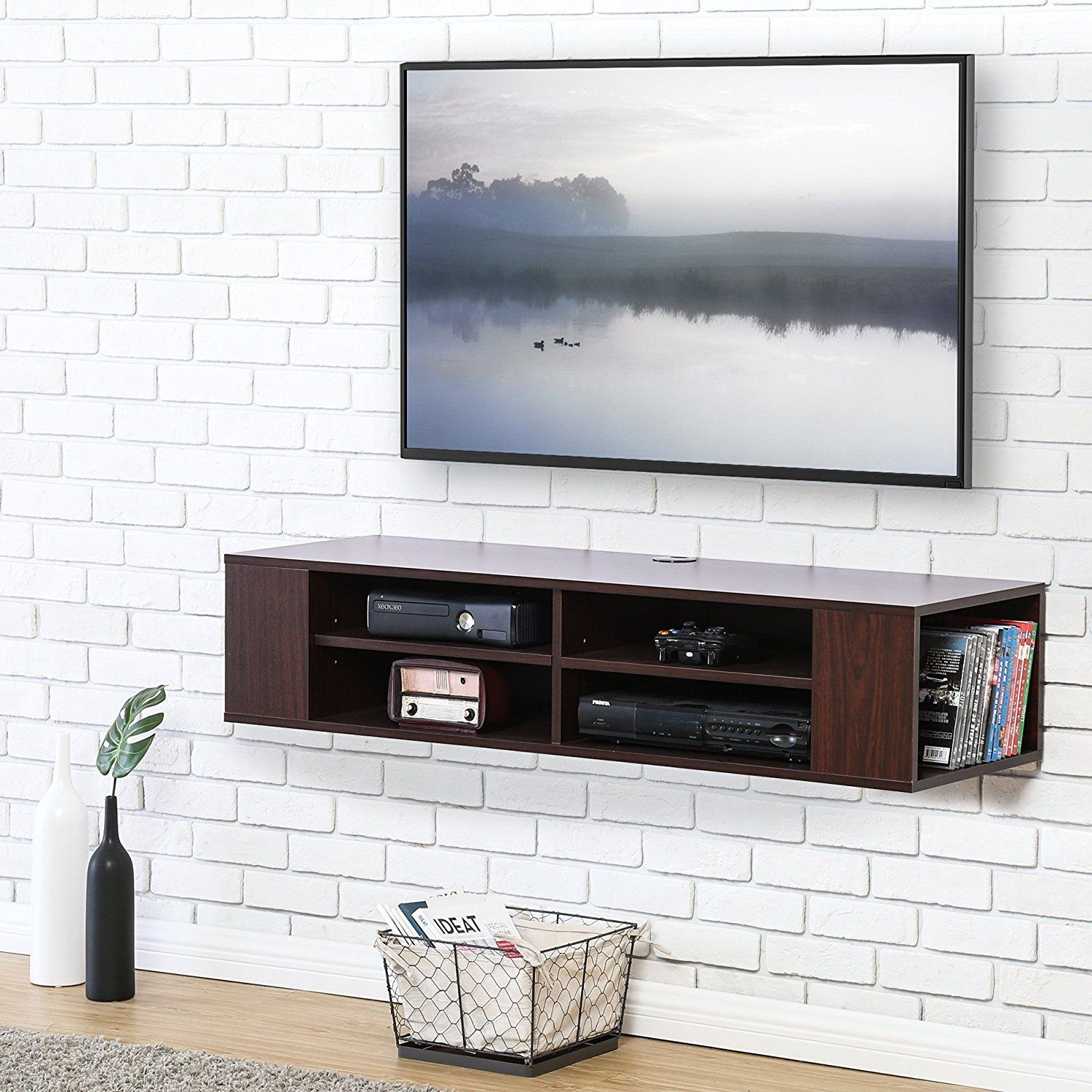 Fitueyes Wall Mounted Audio Video Console Wood Grain For Xbox One Ps4 Vizio Sumsung Sony Tv Ds212001wb Wall Mounted Media Console Wall Mount Tv Stand Floating Tv Stand