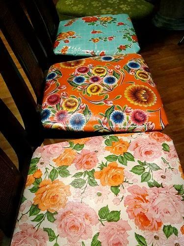 Recover old chairs with oilcloth or vinyl | DIY | Pinterest