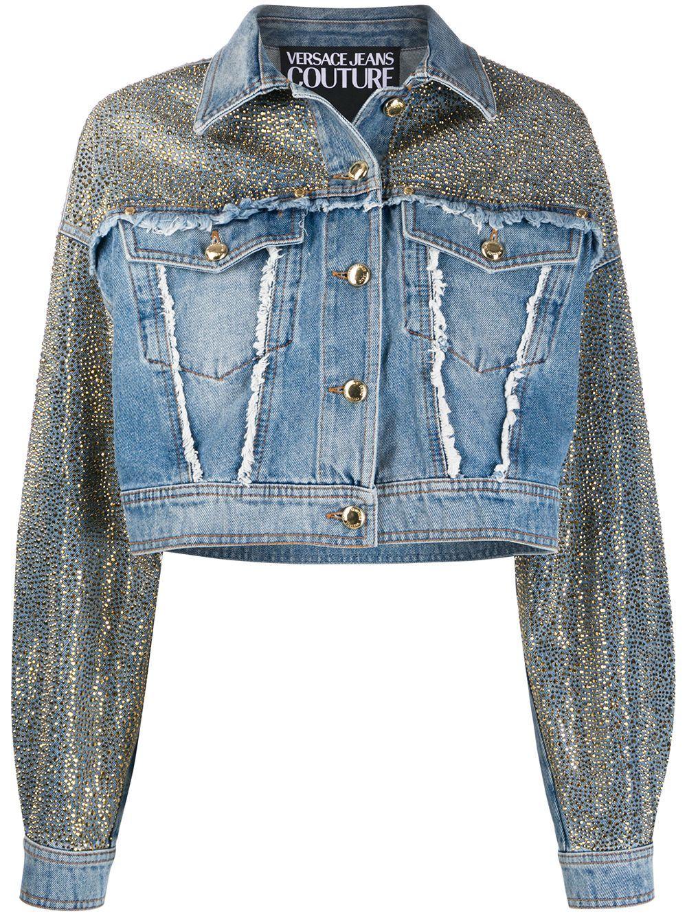 Versace Jeans Couture Studded Frayed Detail Jacket Farfetch Studded Denim Jacket Denim Design Upcycle Jeans [ 1334 x 1000 Pixel ]