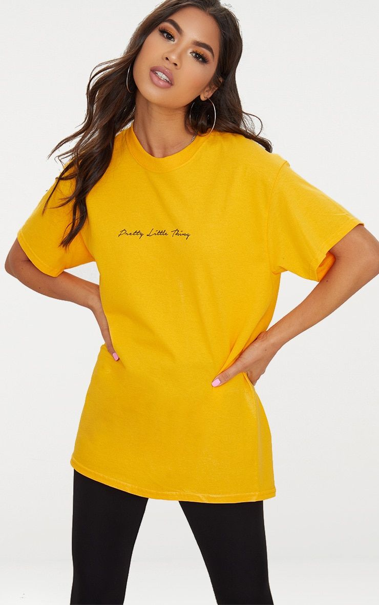 a35e068f437b Mustard PrettyLittleThing Slogan Oversized T Shirt | clothes in 2019 ...