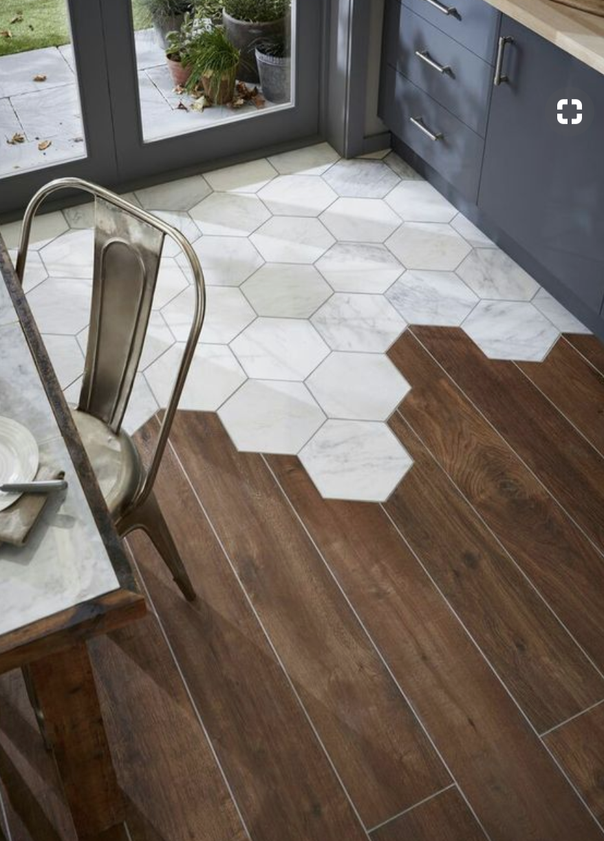 Tile To Wood Blend From Mudroom To Kitchen And Or Under Bath Tub Floor Design Flooring Unique Flooring