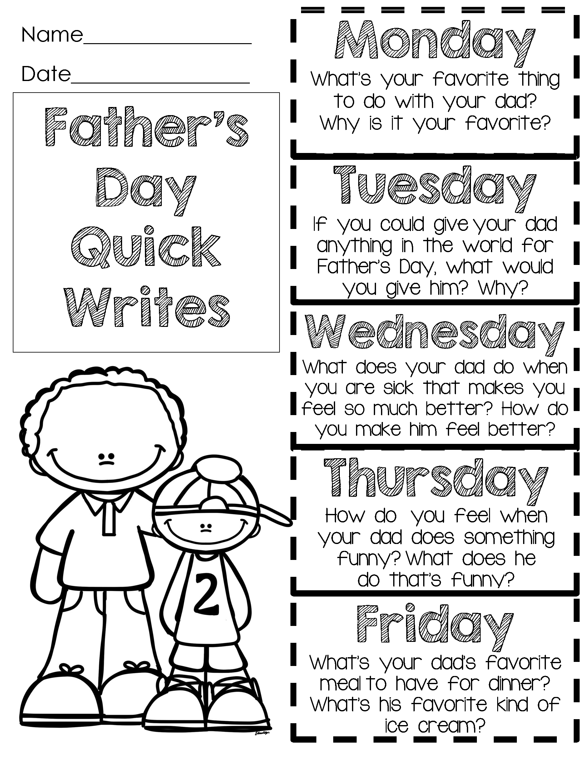 Father S Day Is Fast Writing Freebie