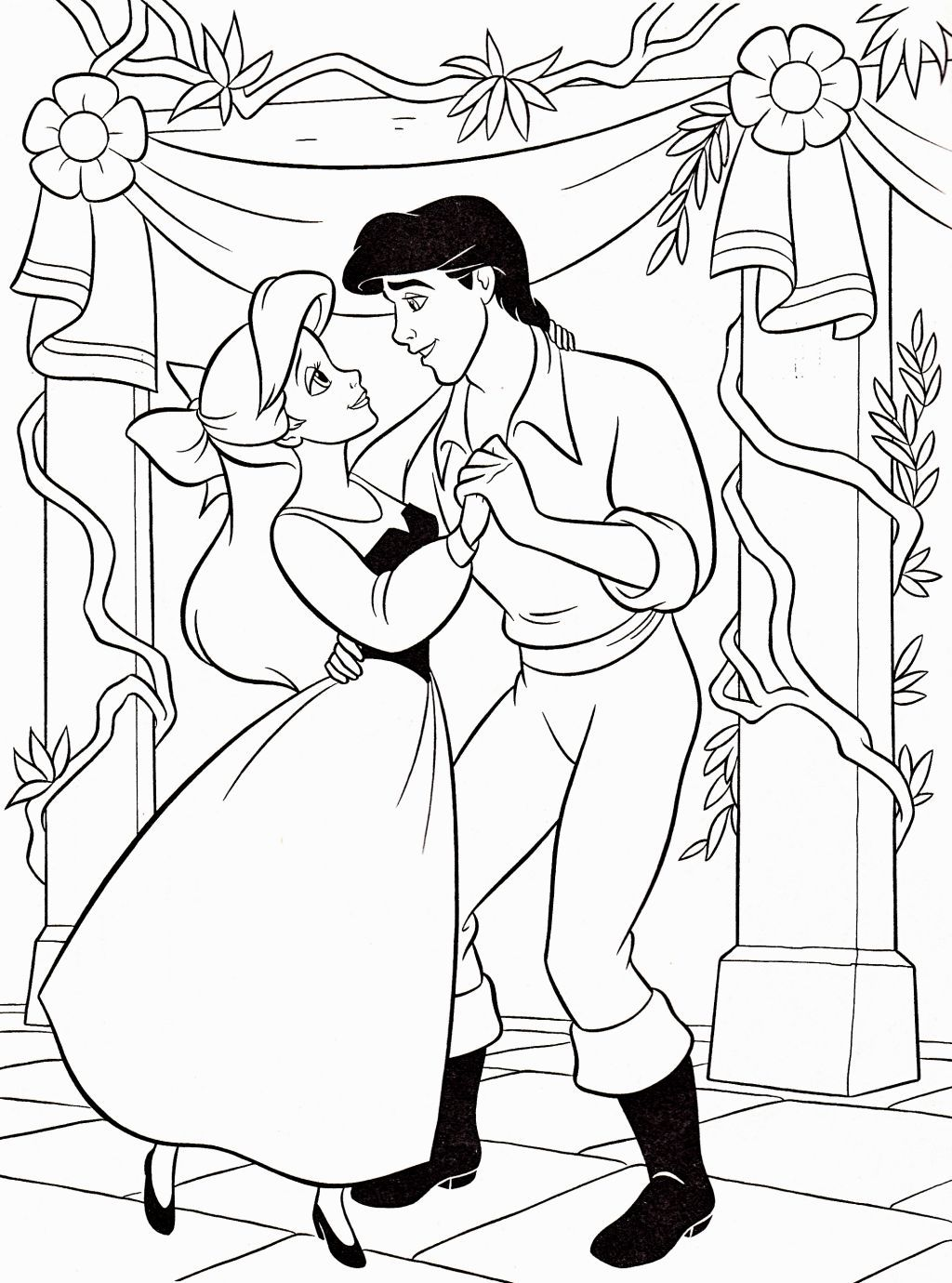 Disney princess coloring pages little mermaid - Walt Disney Coloring Page Of Princess Ariel And Prince Eric From The Little Mermaid Hd Wallpaper And Background Photos Of Walt Disney Coloring Pages