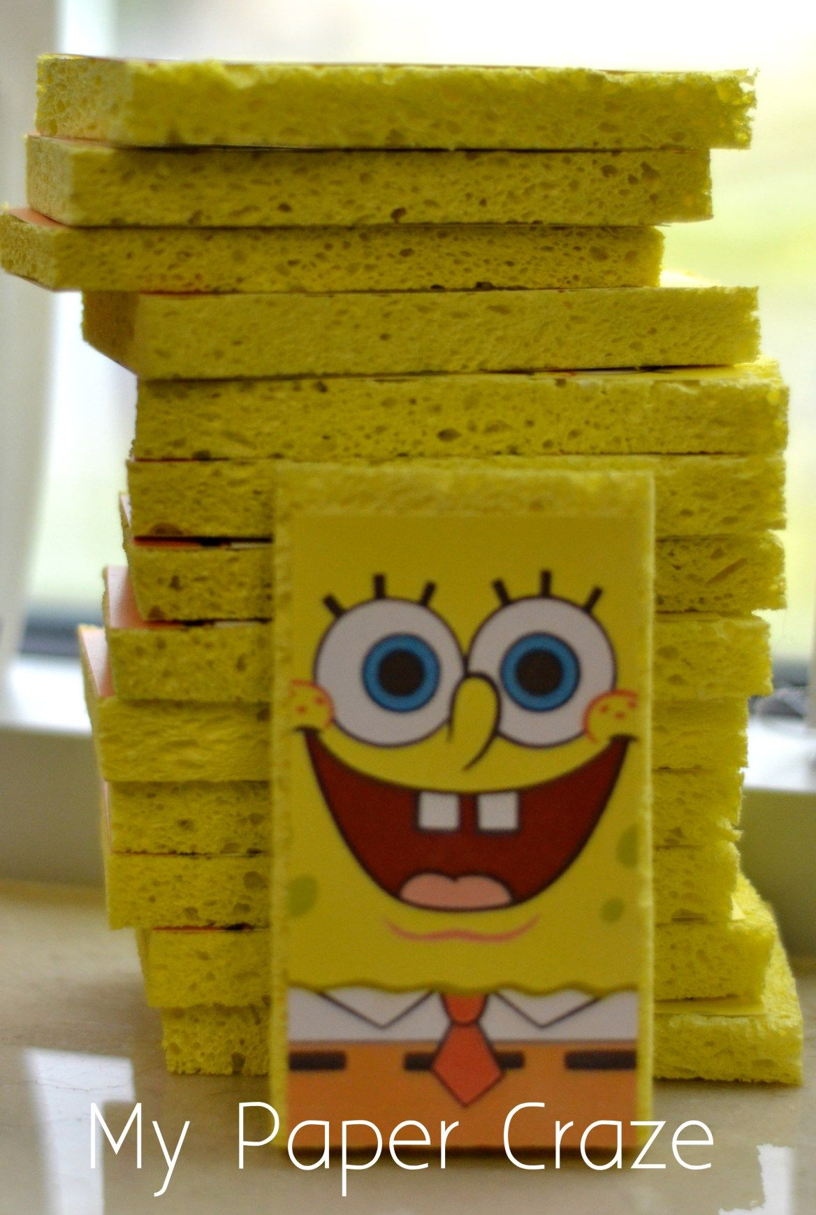 DIY 3D SpongeBob Invitations by My Paper Craze bday