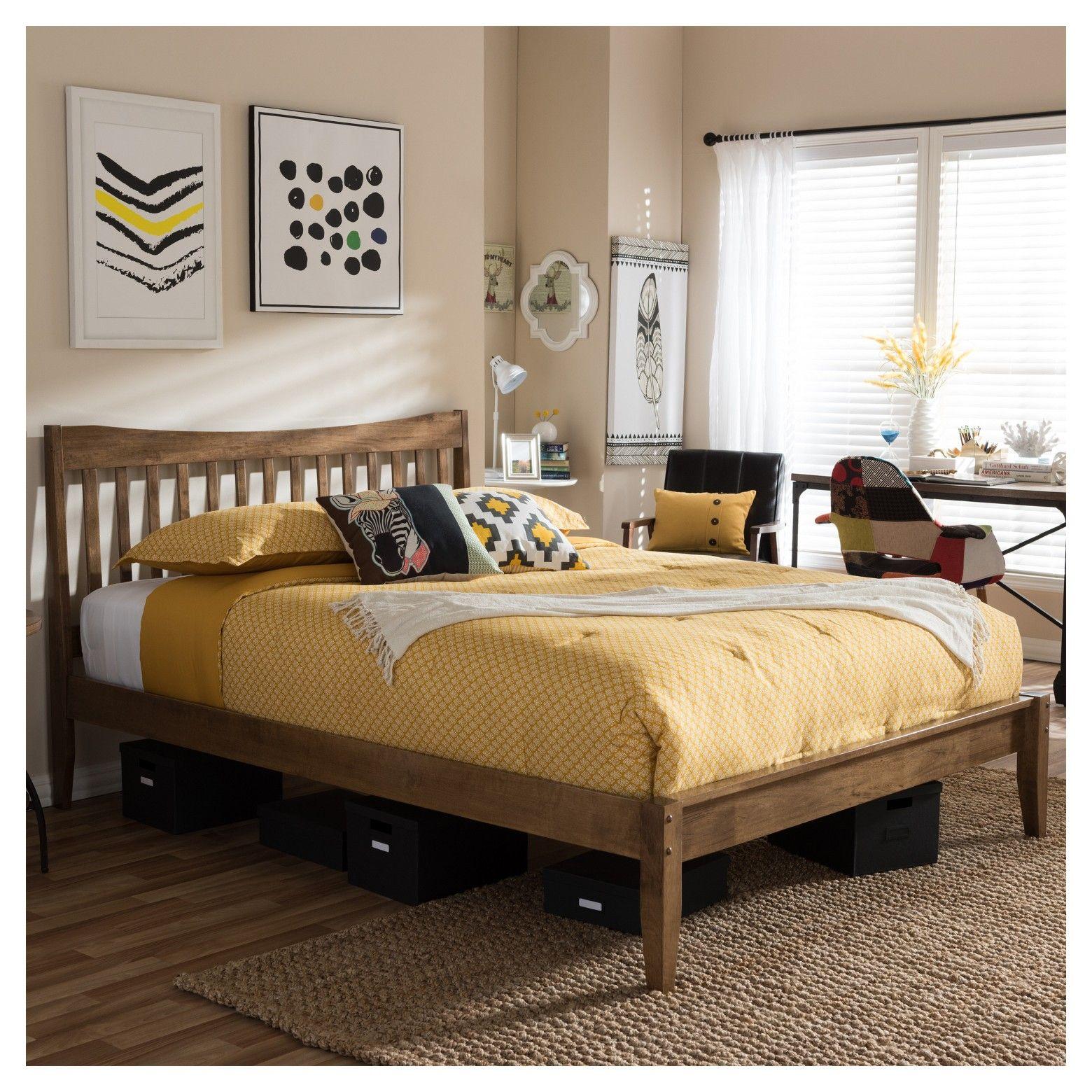 Edeline Mid - Century Modern Solid Wood Curvaceous Slatted Platform Bed - Baxton Studio