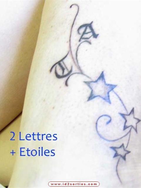 Petit Tatouage étoiles Lettres Gothiques Graphic Tattoo Beauty