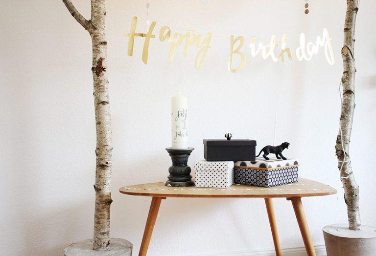 Geburtstag Birkenstamm Deko