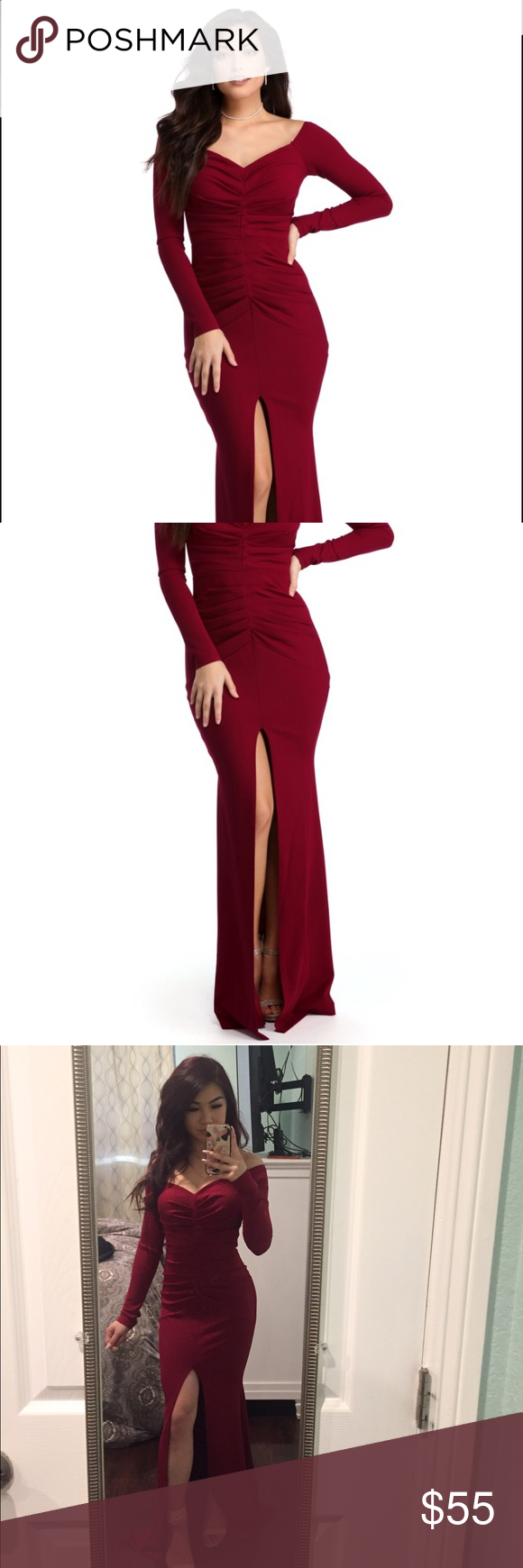 Maroon red prom dress with slit maroon color windsor fc and prom