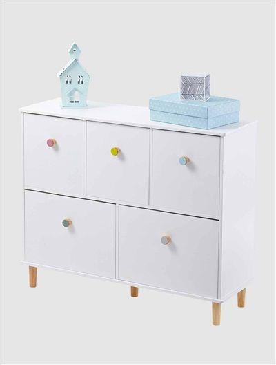 meuble de rangement 5 bacs blanc vertbaudet enfant salle de jeux meubl. Black Bedroom Furniture Sets. Home Design Ideas