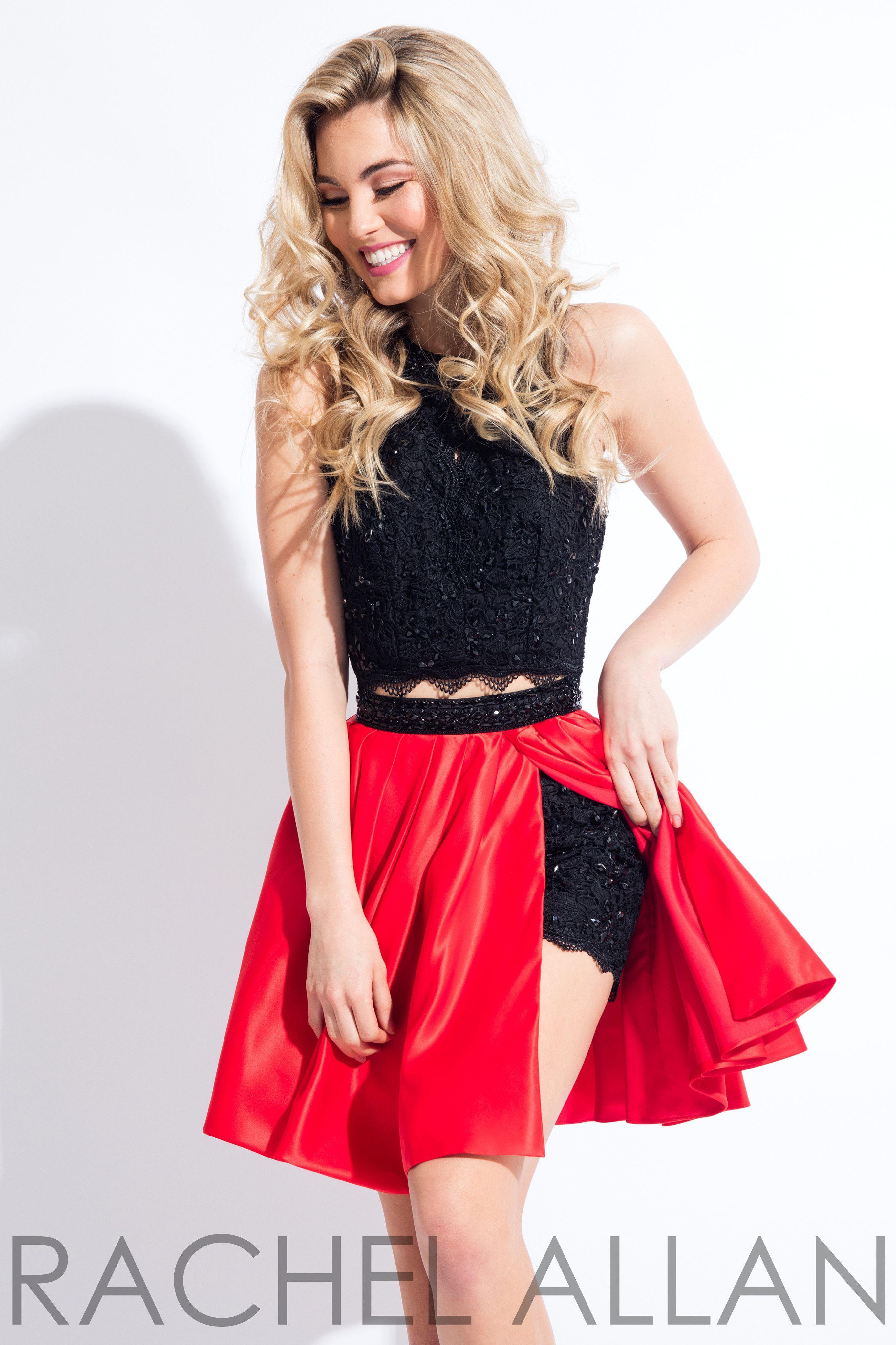 71751777a0e8 Rachel Allan 4392 Black Red High Neck Two Piece Short Dress