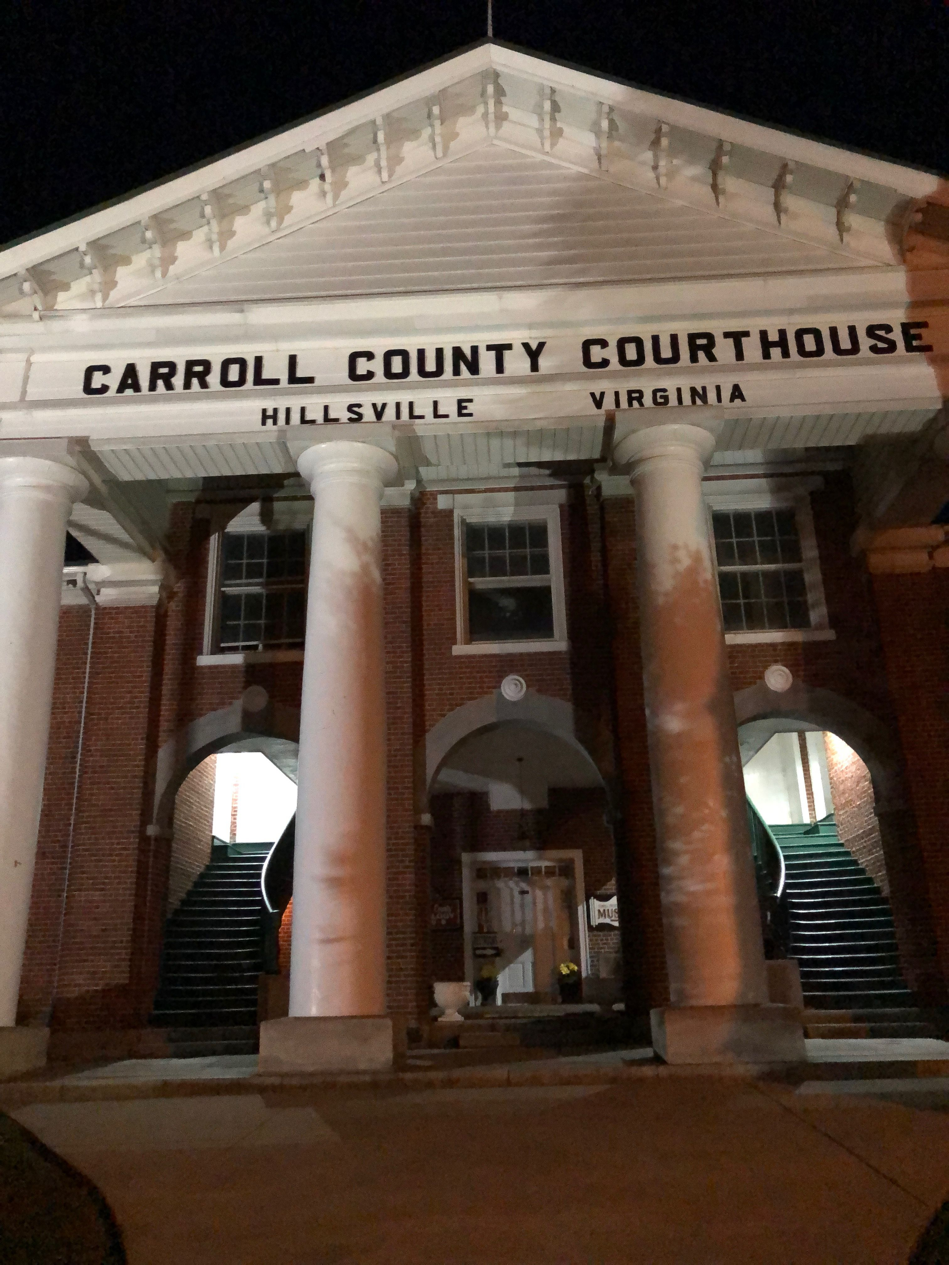 Entryway of Historic Carroll County Courthouse in Hillsville