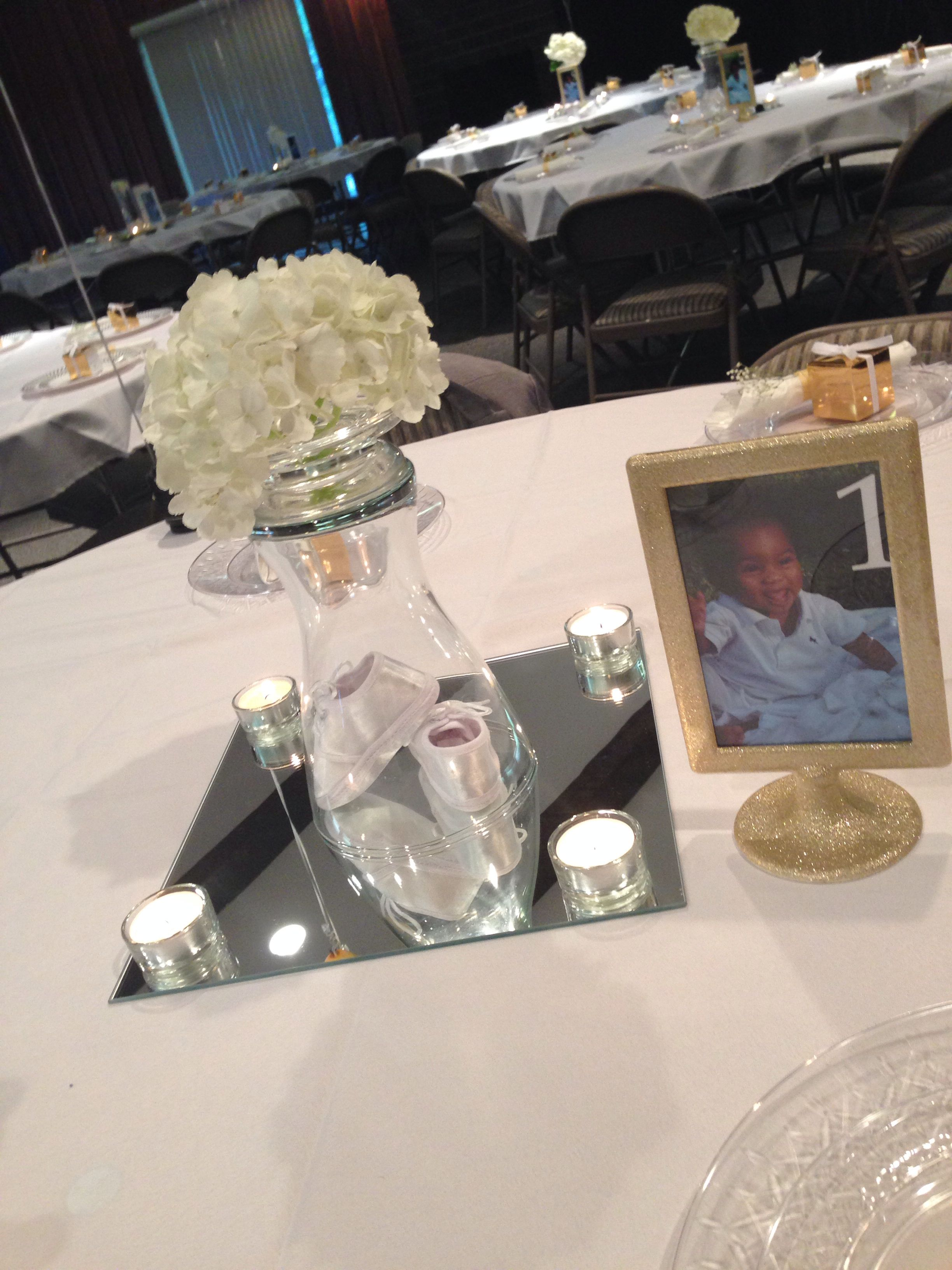 baptism centerpieces for boy or girl white and gold theme baptism rh pinterest com