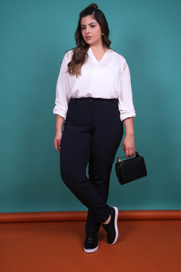 1e3e2eb2c CALCA-ALFAIATARIA-PLUS-SIZE_0004_1 | Looks | Outfit, Büros e Damen