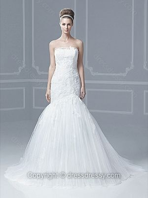 Trumpet/Mermaid Strapless Tulle Satin Sweep Train White Appliques Wedding Dresses -$228.49