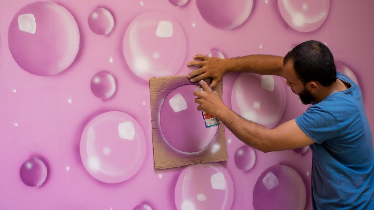 بقطعة كرتون تعلم طريقة ديكور البلورات الزجاجية Youtube Painting Textured Walls Asian Paints Wall Designs Geometric Wall Paint