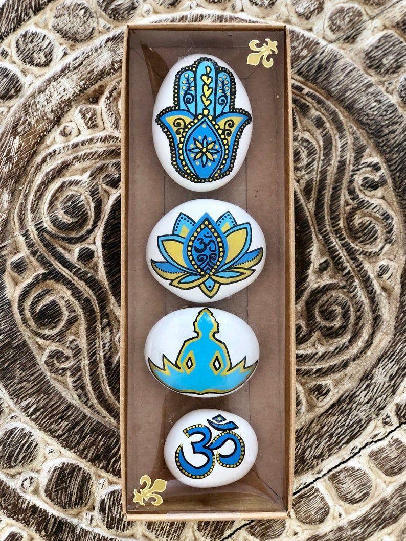Yoga decor set, Hamsa hand, OM, Lotus flower, Buddha, Spiritual gifts, Peaceful decoration, Yoga art