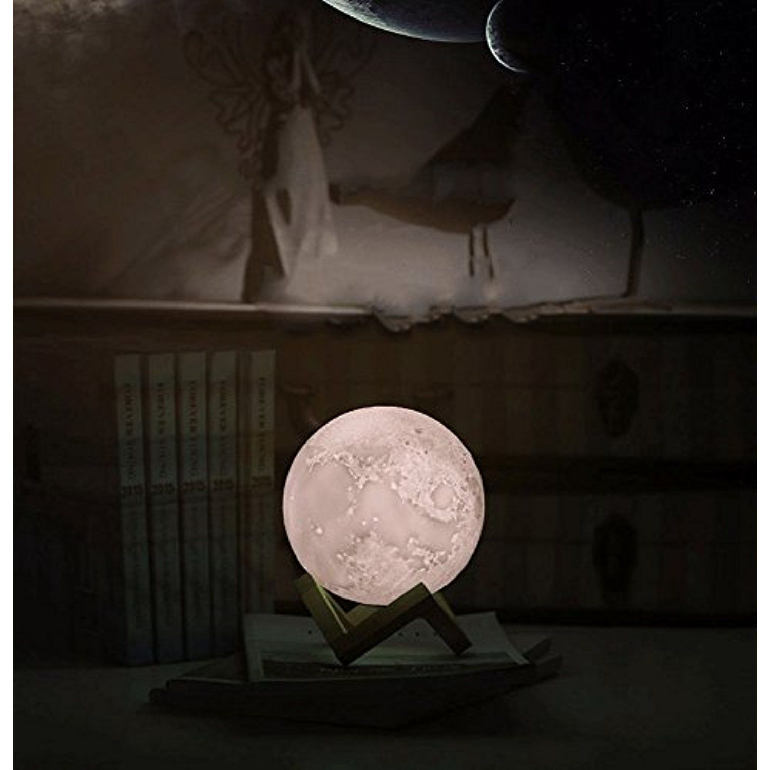 LED Moon Lamp, 3D Lunar Moon Night Light With Wood Stand And Hanging Hole,  USB Rechargeable, Dimmable 3 Level Brightness Cool White, Yellow And Warm  White ...