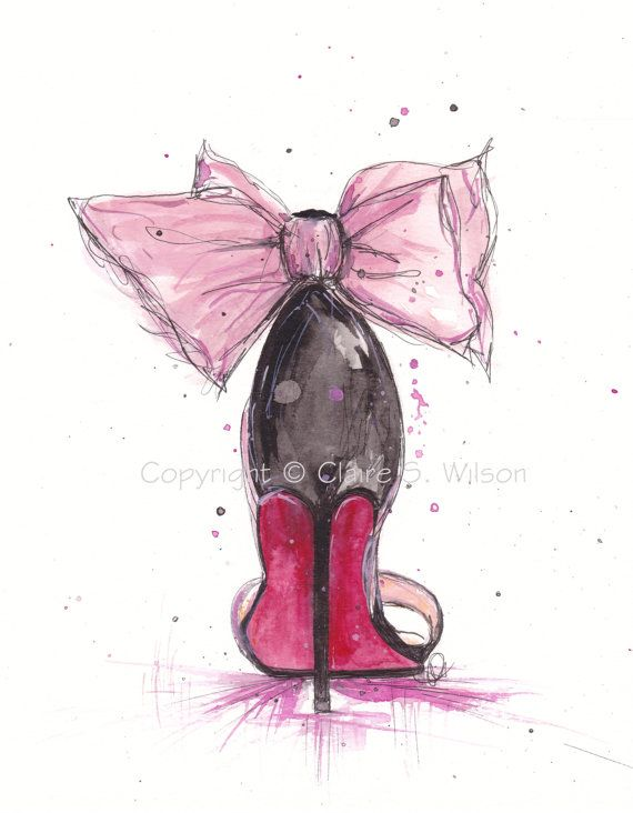 Fashion Illustration  - The Pink Bow Louboutin   Art Print 8x10 by claireswilson on Etsy, $25.00