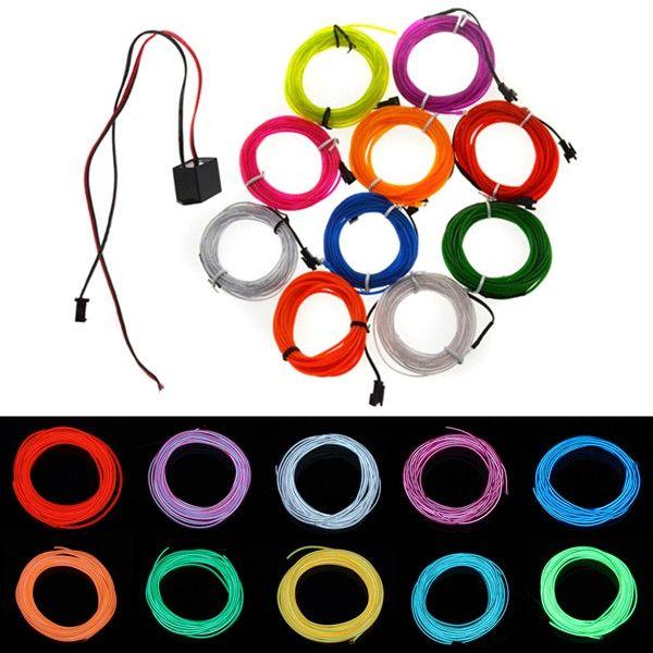 3M Flexible Neon EL Wire 10 colors 12V Light Dance Party Decor Light ...