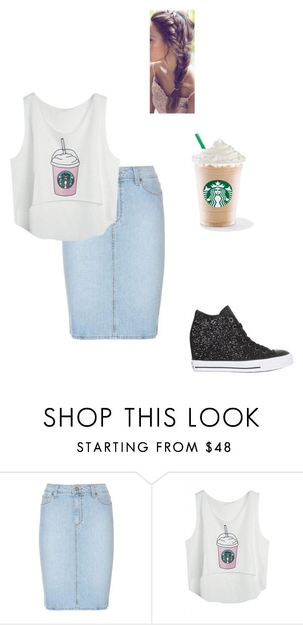 """""""#nevertolateforstarbucks"""" by acousticflute on Polyvore featuring Paige Denim and Converse"""