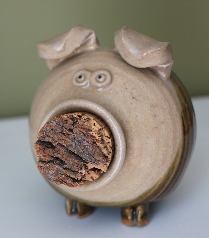 Handmade Glazed Pottery Pig Piggy Bank with Cork Nose and Coin