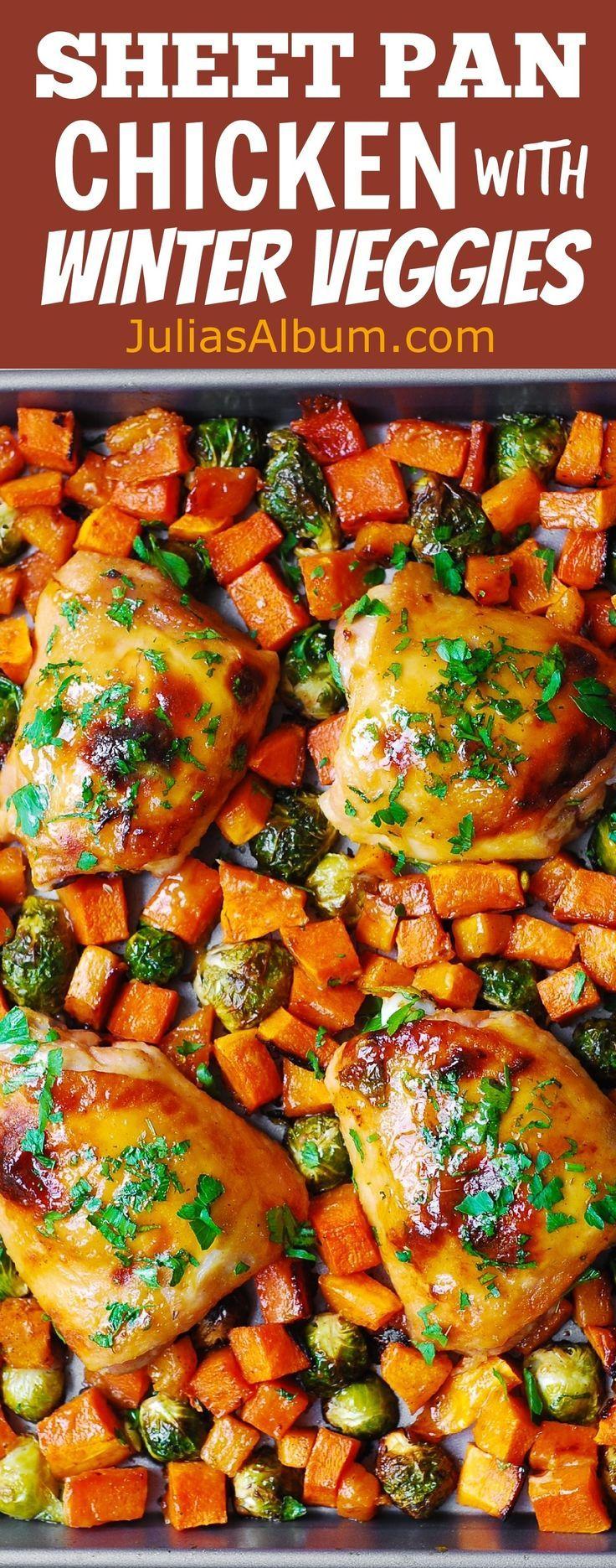 Thanksgiving Sheet Pan Chicken Dinner with Winter veggies: Maple-Dijon Chicken Thighs with Roasted Butternut Squash and Brussels Sprouts.  #Autumn #Fall #dinner #onepandinnerschicken
