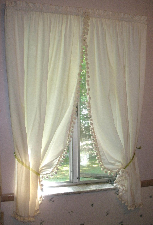 Vintage Farmhouse Kitchen Curtains   Unbleached Muslin Cotton With Large  Pompoms   1 Pair .