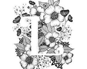 Kunstdruck von Buchstaben J mit floraler Hintergrund. Tolles Geschenk! Nachricht an mich für Anpassungen oder Auftragsarbeiten. Schwarz / weiß Tinte, mehr Buchstaben des Alphabets in Kürze.