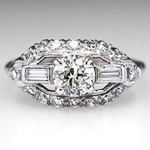 Antique 1930's Engagement Ring Diamond Platinum #rings #jewelry www.finditforweddings.com