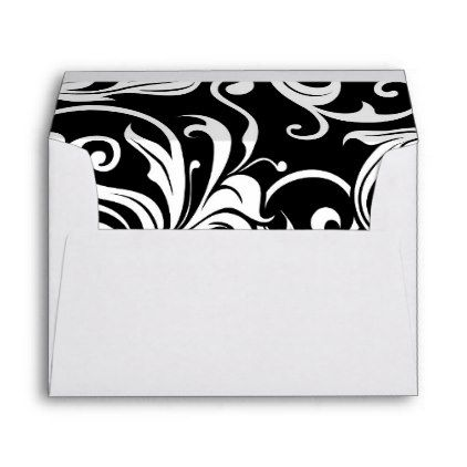 Elegant Black White Floral Wallpaper Swirl Pattern Envelope