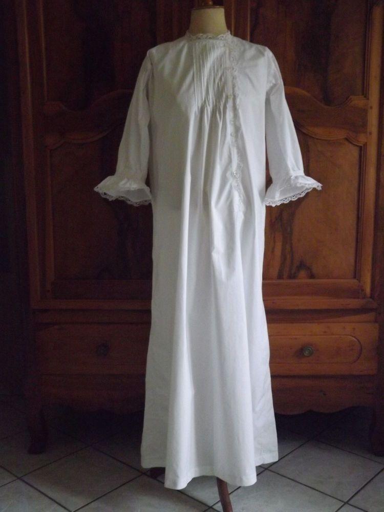 Chemise De Nuit Plis Religieux Dentelle Ancienne Shirt Dress Short Sleeve Dresses Dresses With Sleeves