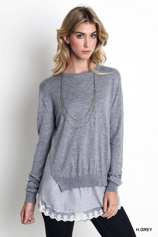 61c80f93ee6 Layered Lace Sweater Gray Jeans For Tall Women, Clothing For Tall Women,  Womens Clothing