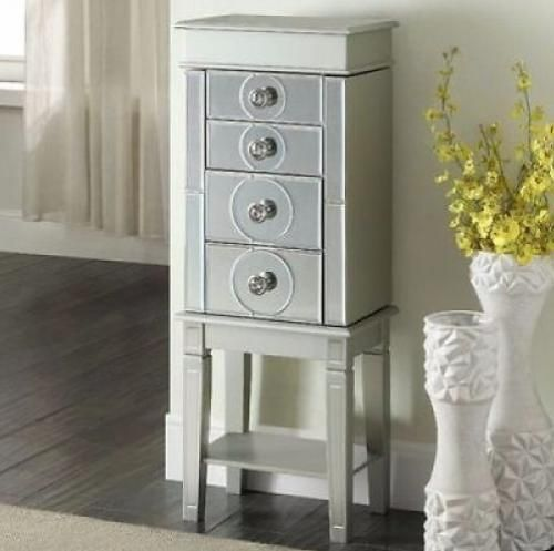 Jewelry Armoire Box With Mirror Organizer Tall Stand Up ...