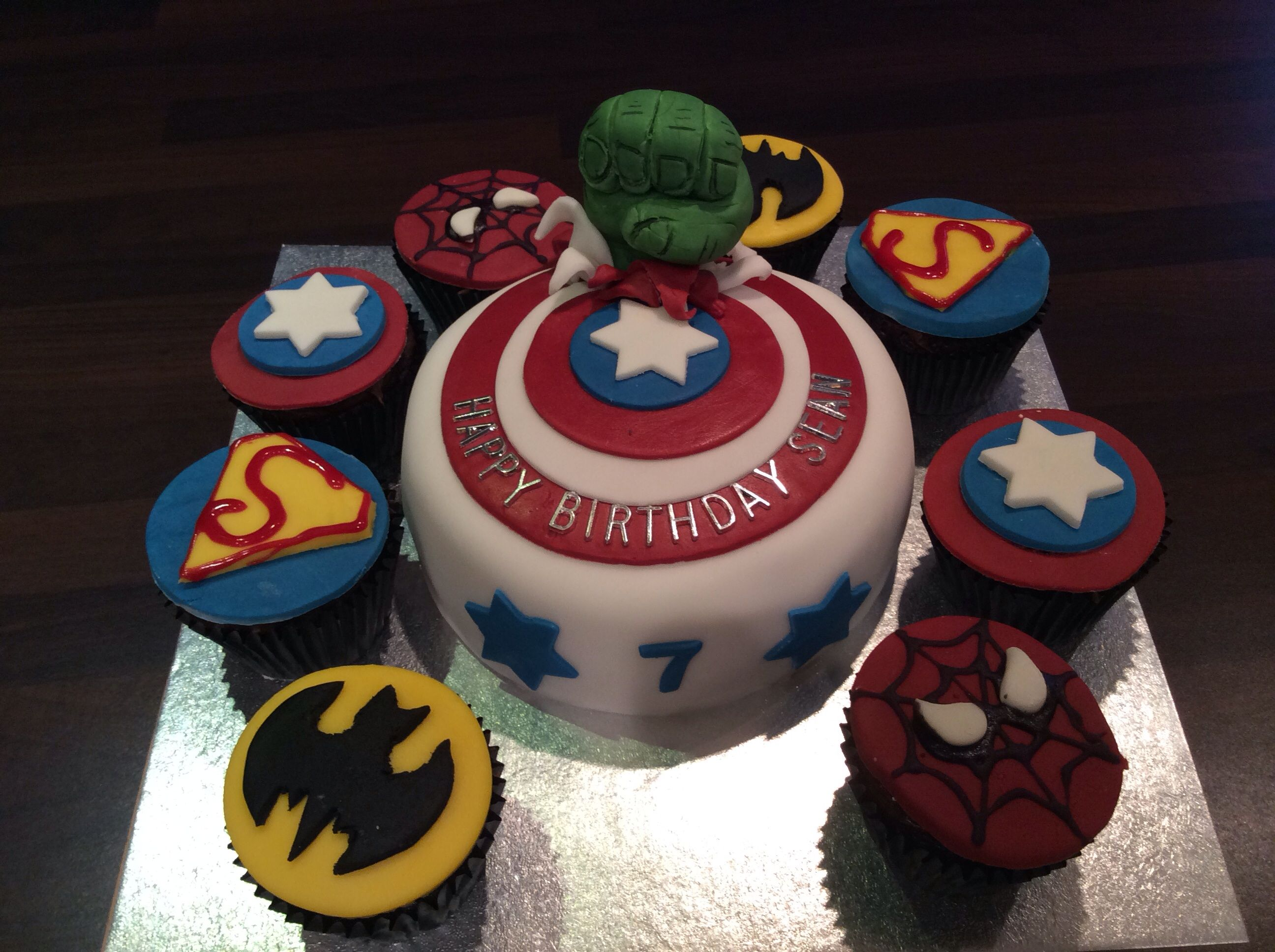 Birthday Cakes Hulk Smash birthday cake and Avengers cupcakes