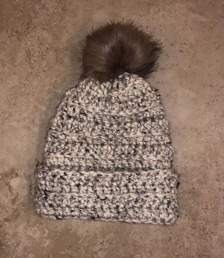 427661eab12 Hand Crocheted Baggy Beanie Oversize Winter Hat Ski Cap Fur Pom  fashion   clothing