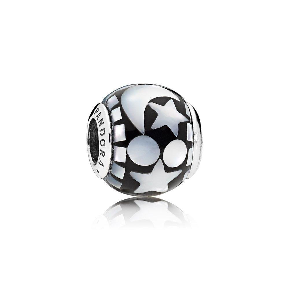 Pandora Charm Himmlisches Mosaik Aus Sterling Silber Mit Weißem Perlmutt Im Mosaikmuster Und Schwarzem Acryl