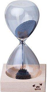 VENKON - Clessidra Magnetica in Vetro Soffiato con Sabbia di Ferro Magnetico - Tempo circa 60 Secondi