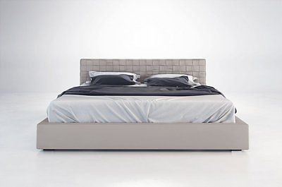 Modern Grey Eco Leather Upholstered Bed With Woven Headboard(King )
