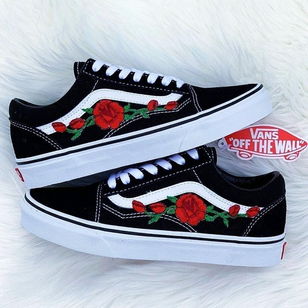 Custom Vans | Vans shoes, Rose vans