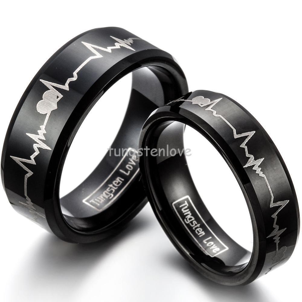 pero no vulgar Mejor precio comparar el precio Anillos de tungsteno ECG | Jewelry | Anillos de pareja ...