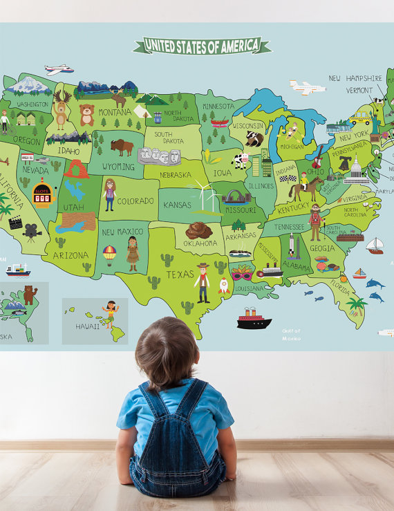 Map of United States Fabric Sticker, Peel and Stick Removable USA ...