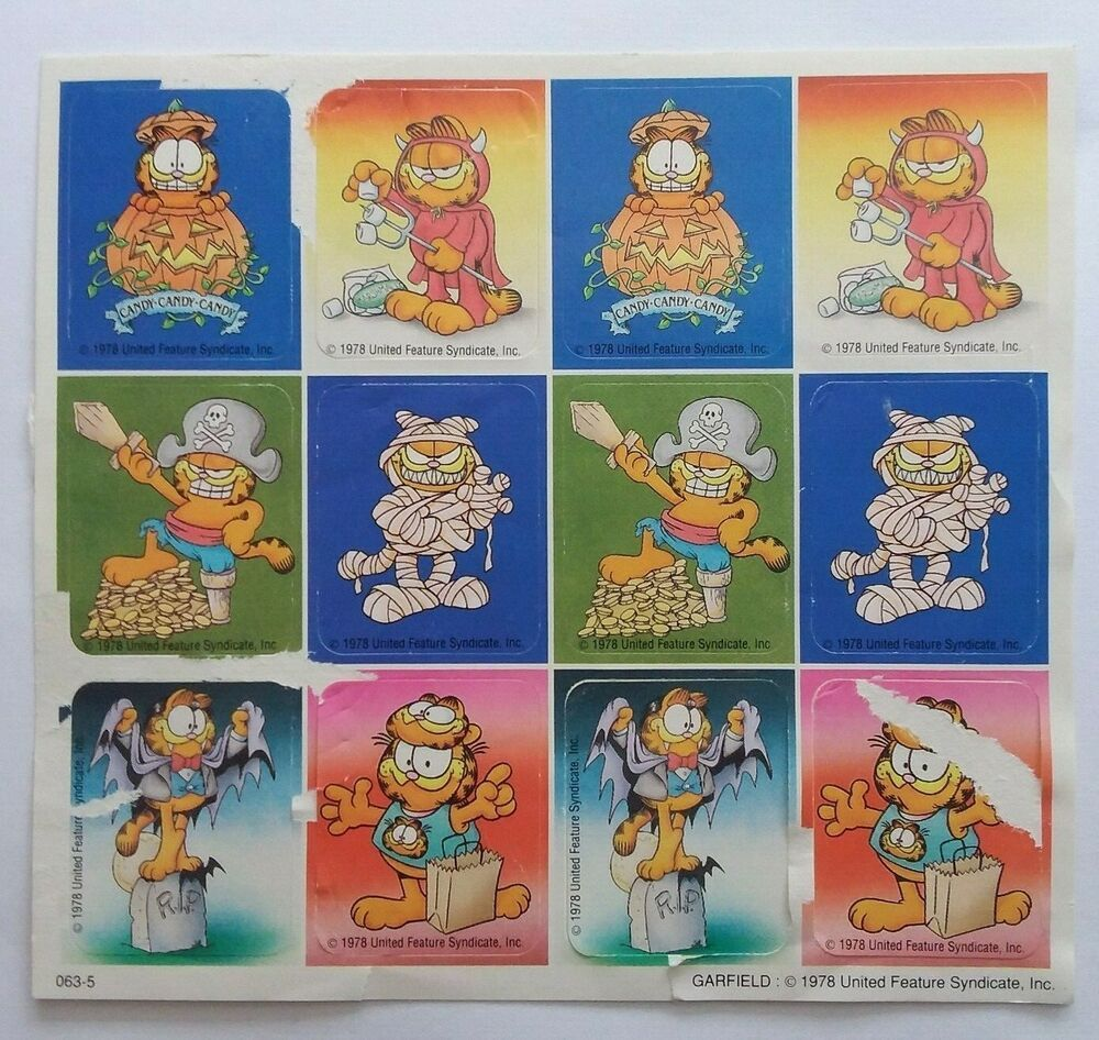 Halloween 1978 And 2020 Feature Vtg 1978 Garfield Sticker 1 Sheet United Feature Syndicate