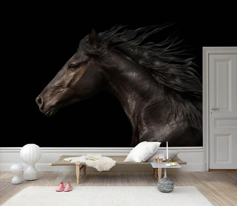 3d Black Horse Wallpaper Removable Self Adhesive Wallpaper Etsy Horse Wallpaper Wall Art Wallpaper Self Adhesive Wallpaper