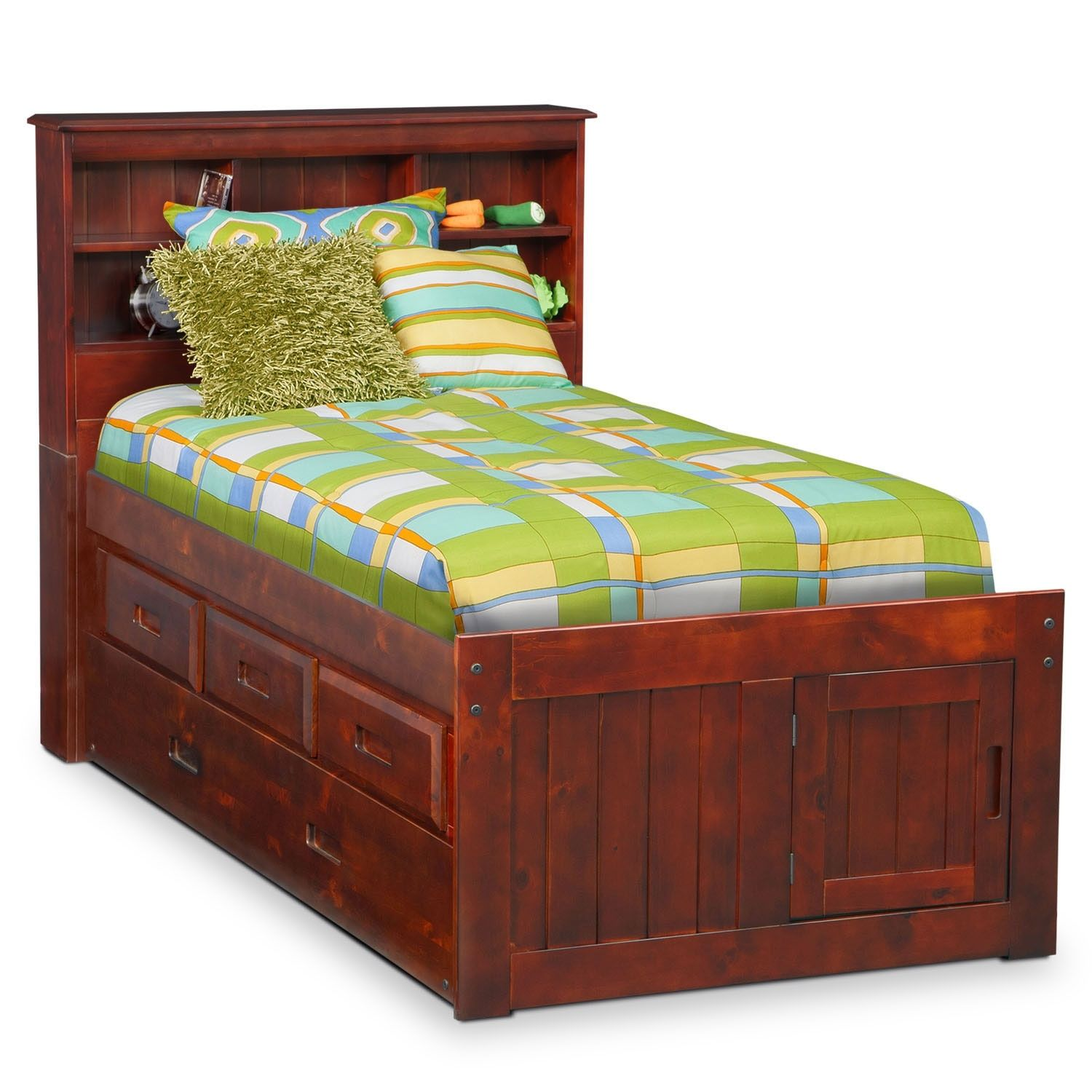 Ranger Twin Bookcase Bed With 3 Underbed Drawers And Trundle Merlot Bookcase Bed Furniture Kids Furniture