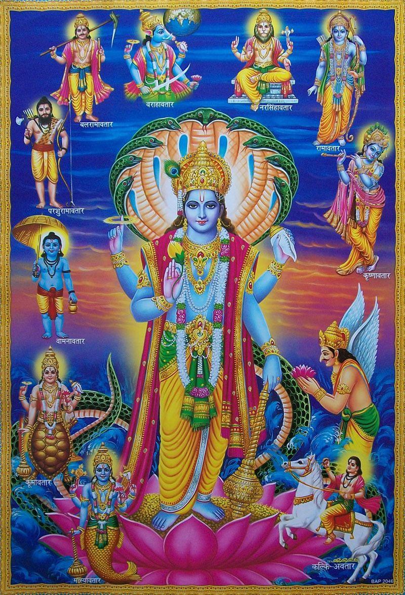 Lord Vishnu Avatars Big Hinduism Poster 20x30 Inches Hindu Deities Lord Vishnu Lord Murugan