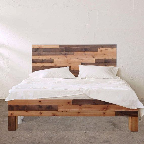 Barn Wood Style Platform Bed Frame Headboard Set Original