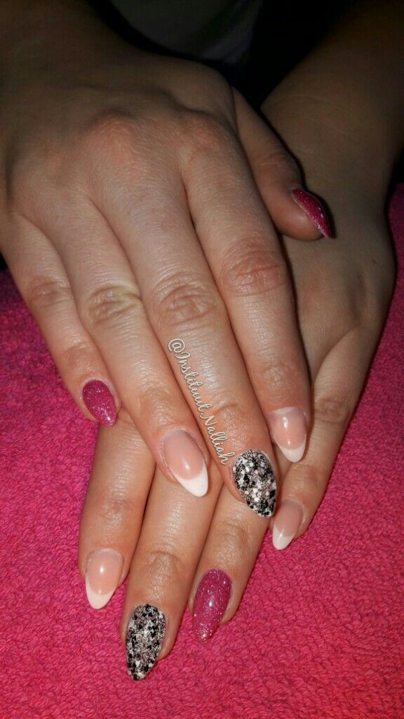 Funky french nails Pink glitter and lace gel from Light Elegance ...