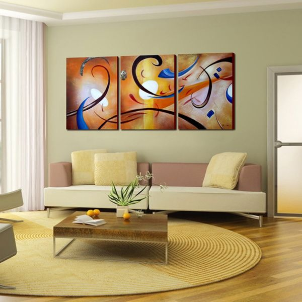 Overstock Wall Art happiness abstract' hand painted gallery wrapped canvas art set